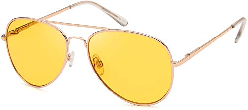styleBREAKER Aviadores Gafas de sol con lentes tintadas o de espejo con bisagra de resorte, unisex 09020037, color:Marco dorado/vidrio amarillo