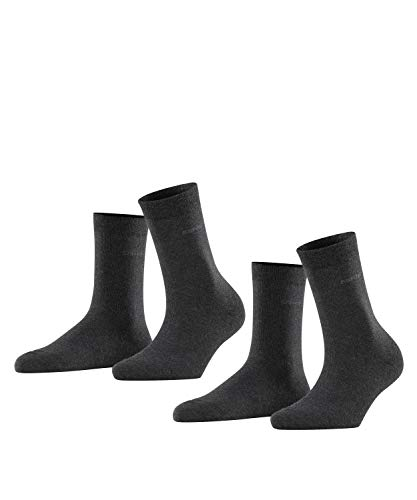 ESPRIT Damen Basic Easy 2-Pack W SO Socken, Blickdicht, Grau (Anthracite Melange 3080), 35-38 (2er Pack)
