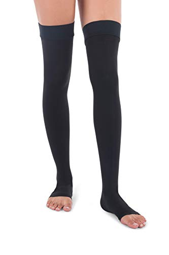 Jomi Compression Thigh High Collection, 20-30mmHg Premiere Open Toe 241 (Medium, Black)