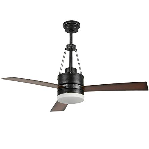 Luxurefan Industrial Led Ceiling Fan with Remote Control with 3 Premium Wood Leaves Modern Ceiling Fan for Decoration Home Coffee Shop of 48Inch