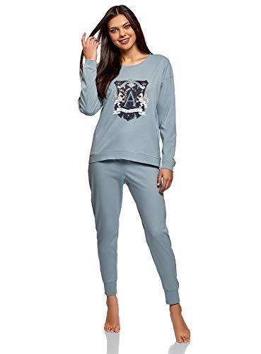 oodji Ultra Mujer Pijama de Algodón con Pantalones, Azul, ES 40 / M
