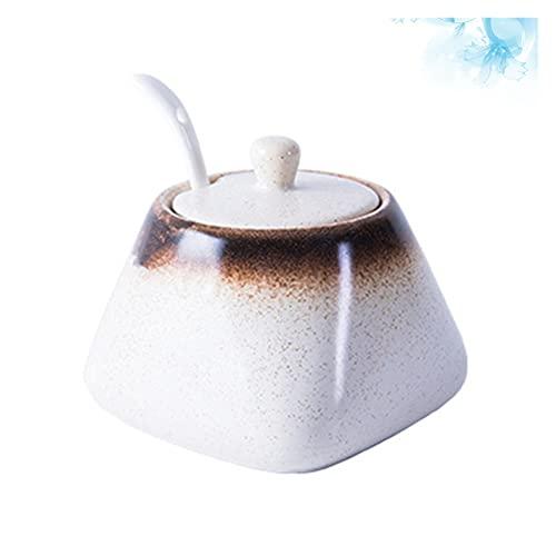 Adatto per forniture da cucina Semplice ceramica ceramica zucchero ciotola sale shaker pepe stoccaggio pentola pratico condimento piatto contenitore condimento condimento scatola scatola domestica cuc