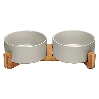 SPUNKYJUNKY Gamelle Double en céramique avec Support en Bambou pour Chat et Chien (850ml, Gris)
