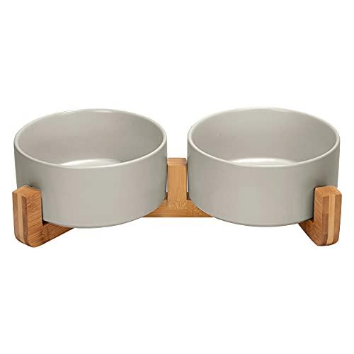 SPUNKYJUNKY Keramik Doppel Hund Futternapf mit Bambus Ständer für Katzen und Hunde (850ml, Grau)
