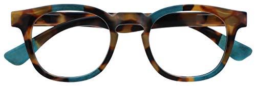Opulize Ava Mujeres Señoras Marrón Carey Turquoise Súper Ajuste Cómodo Gafas De Lectura Bisagras Resorte R62-Q +2,00