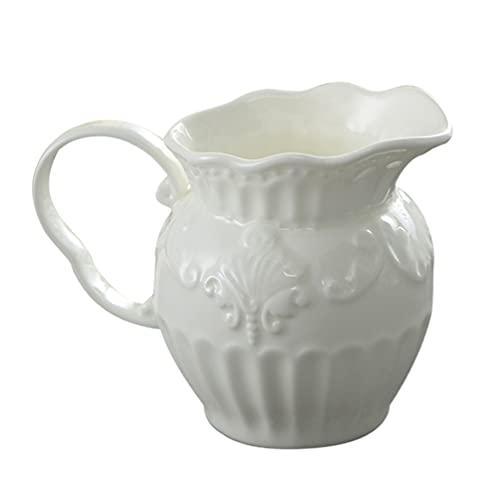 HEMOTON Jarra de porcelana para servir de leche de café jarra para servir salsa de servidor jarra de leche jarra de flores con mango para cocina cafés restaurantes hoteles blanco