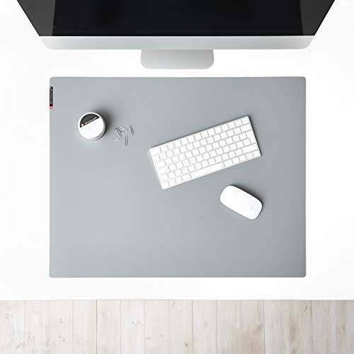 mine OFFICEKULTUR – Schreibunterlage Linoleum 69 x 54 cm, grau, Schreibtischunterlage