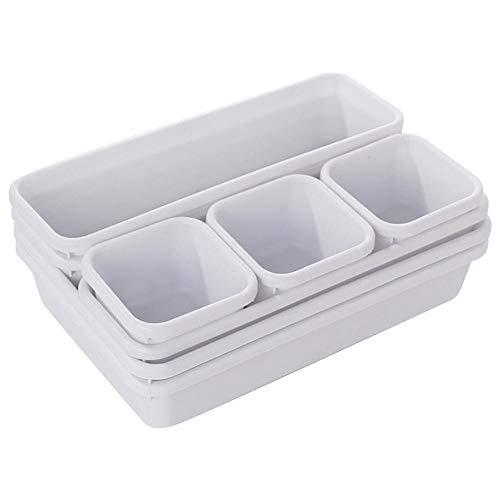 TXSAGL 8 unids/Set Multifuncional hogar cajón Organizador Caja bandejas Caja de Almacenamiento Oficina Almacenamiento Cocina baño Armario joyería Maquillaje Escritorio Caja organización, Blanco