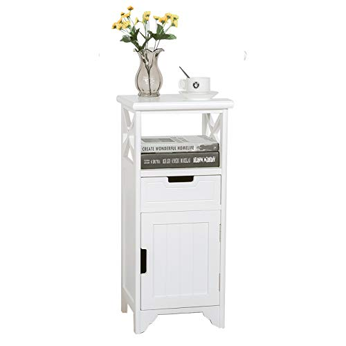 BECTSBEFF End Table with Drawer and Doors(Fully Assembled), Floor Standing Storage Cabinet with Shelf for Bathroom and Kitchen, Solid Wood Side Table/Nightstand/Side Cabinet for Bedroom -White