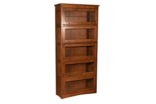 Crafters and Weavers Mission Craftsman Quarter Sawn Oak 5 Stack Leaded Glass Barrister Bookcase