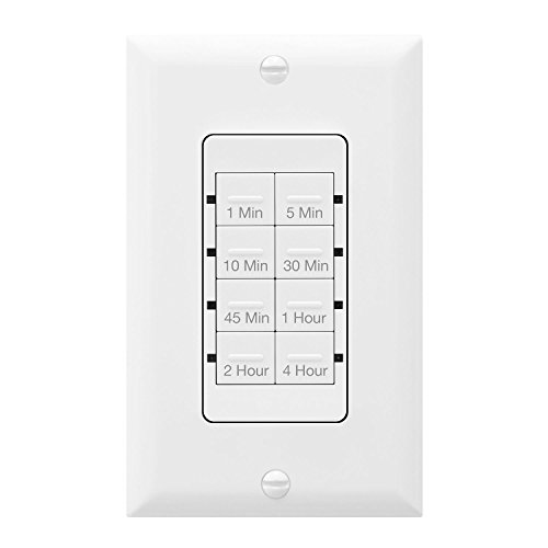 TOPGREENER Countdown Timer Switch, In-Wall Electrical Switch for Fans, Lights, Ventilation, 1-5-10-30-45 min, 1-2-4 hr, 600W LED, 1/2HP, Neutral Wire Required, UL Listed, TGT08-W