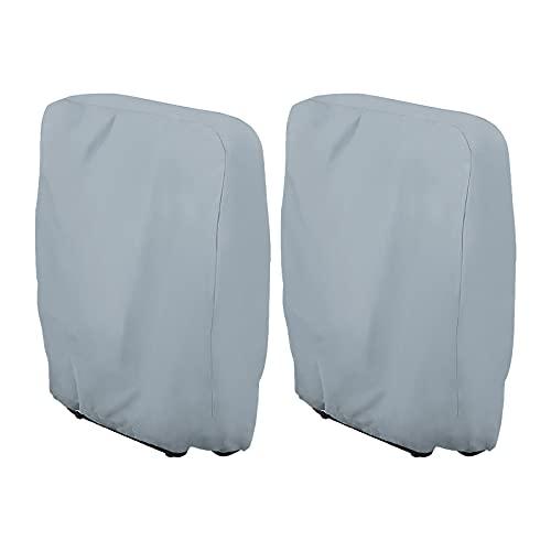 Funda de protección para tumbona plegable, 2 piezas, funda para tumbona de jardín, antipolvo, impermeable, antiUV, 210D Oxford para sillón relax, W71 x H110 cm (gris)
