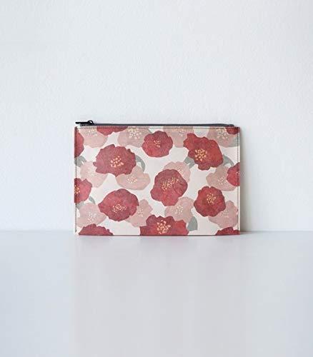 Hanji-Papiertasche Federmäppchen Kosmetiktasche – Rot/Kamelie - aus traditionellem Hanji-Papier: mit Reißverschluss
