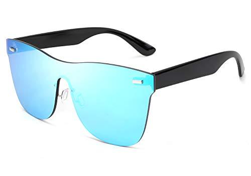 FEISEDY Gafas de Sol de Una Pieza Gafas de Sol de Espejo sin Montura para Hombre y Mujer B2647