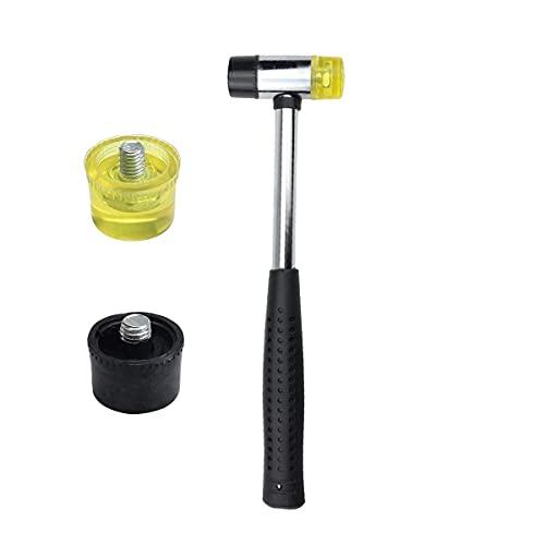 Herramientas de mano, herramientas de mejoras para el hogar, herramientas de bricolaje, martillo de nylon, mazo de goma, martillo de goma de doble cara, puntas suaves y duras y mango de goma antidesli