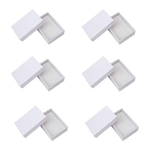 NBEADS 6Pcs Cartone Bianco Gioielli Collane Anello Orecchino Scatole Regalo con Coperchio,90X 65X 28mm