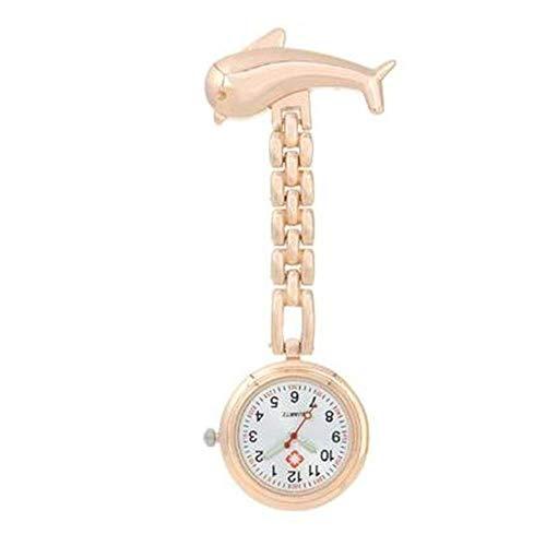 Retro Zhicaikeji Nurse Watch Watch Watch Watch Dolphin Cuarzo Cofre Reloj cronómetro Examen de estudiante Reloj de bolsillo Fácil de leer Fácil de llevar (Color: Rosa, Tamaño: Un tamaño) Pocket watch