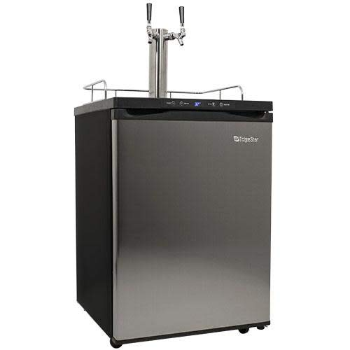 EdgeStar KC3000SSTWIN Full Size Dual Tap Kegerator with Digital Display - Black and Stainless Steel
