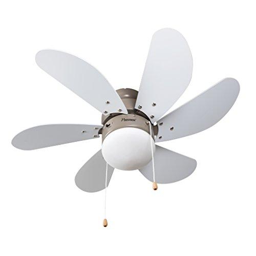 Bestron plafondventilator met lamp, Ø 75 cm, 50 W, esdoorn/wit
