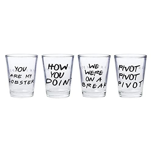 Silver Buffalo Friends with Texts Mini 4 Piece, 1.5-Ounces Each Glass Set, 1.5 Ounce, Multicolored