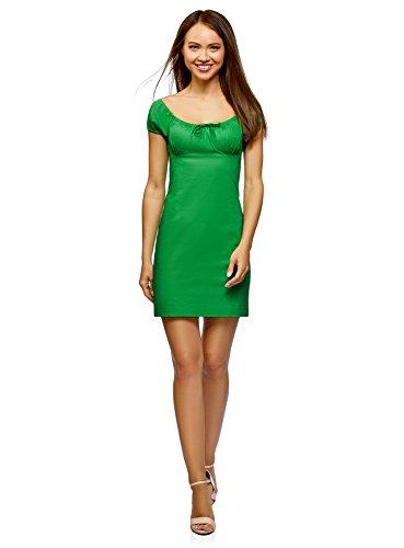oodji Ultra Damen Baumwoll-Kleid mit Raffungen an der Brust, Grün, DE 38 / EU 40 / M