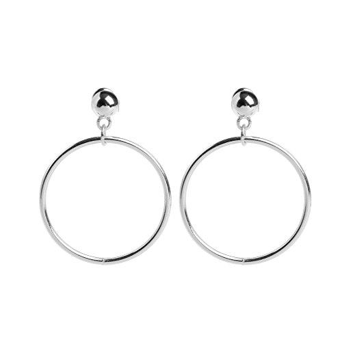 Joocyee Minimalist Golden Slivery Bead Circle Metal Dangle Drop Statement Earring Mujeres, Silver Big Gold Bead Pendientes de aro geométricos, Silver