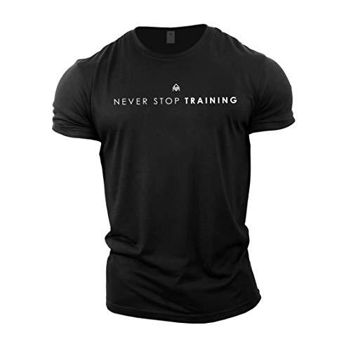 GYMTIER Camiseta de culturismo para hombre – Never Stop Training – Camiseta de entrenamiento de gimnasio