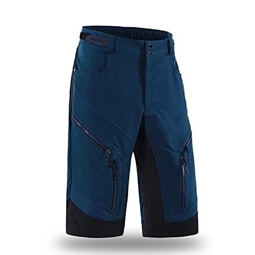 Pantalones Cortos Mtb Impermeable Transpirable Pantalones Cortos de Ciclismo,Hombre con Bolsillos Pantalones Cortos de Bicicleta para Correr O Deportes Al Aire Librep(Size:METRO,Color:azul oscuro)