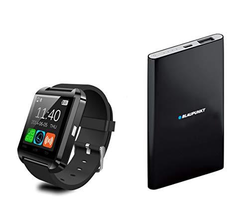 Blaupunkt BLP1800 Set Smartwatch + Batería Externa 4000 mAh, Monitor de Actividad, Sueño, Pulsómetro, Podómetro, Contador de Calorías, Power Bank, iOS y Android, Negro, Adultos Unisex, M