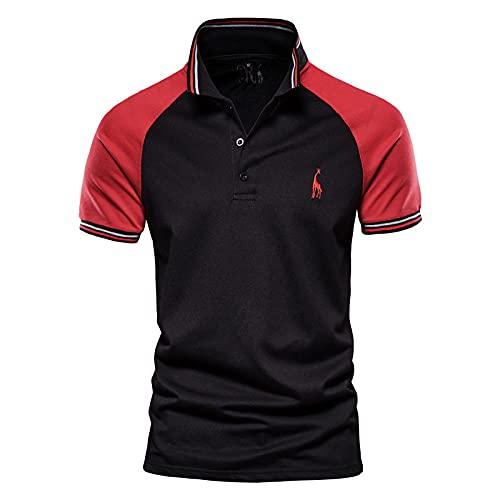 LSSM Naht Poloshirt Baumwolle Kurzarm T-Shirt Herren Bestickte RaglanäRmel Rot S