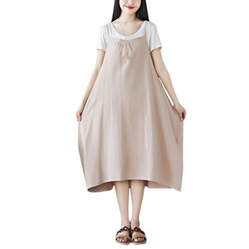 Lialbert Elegant Dame Camisole-Kleid Leinenkleid Kleid Zweiteiliger Skaterkleid Kurzes 2 Pack Schwingendes Rock Tunika Lockerer A-Linie HäNgerkleid Braun