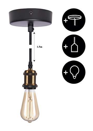 CROWN LED Brass Lampenfassung E27 + Textilkabel + Deckenfassung + Edison Leuchtmittel dimmbar