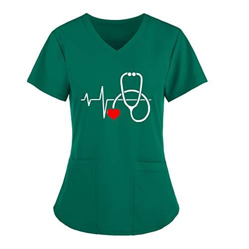 Salalooks Damen Arbeitskleidung Herzschlag Motiv V-Ausschnitt Schlupfkasack Pflege Kasack Bluse Top Krankenhaus Schlupfjacke Kurzarm Berufsbekleidung für Medizing und Pflege Unisex Uniform