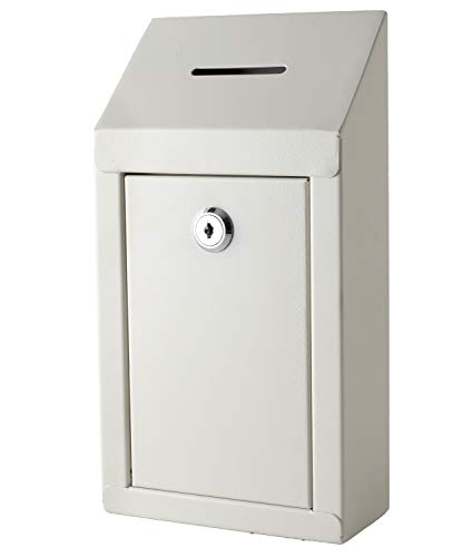 Metal Donation Box & Collection Box Office Suggestion Box Secure Box with Top Coin Slot and Lock Included with 2 Keys - Easy Wall Mounting or Counter Top Use (Off White)