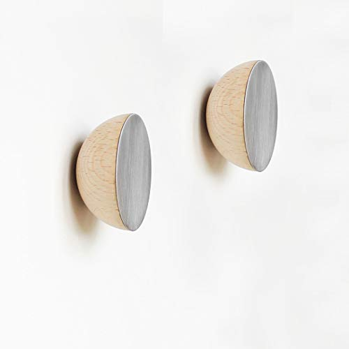 Set van 2 - Ø 5cm - Ronde Beukenhout & Aluminium Kapstok/Jashaak/Knop