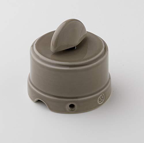 Klartext - Interruptor/desviador giratorio BELLE ÉPOQUE de estilo vintage para instalación con cable textil, de fina porcelana artesanal, color gris claro
