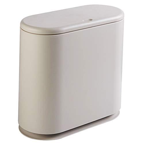 Skysep Kosmetikeimer mit Absenkautomatik und Inneneimer Badezimmer Mülleimer Abfalleimer Badezimmer-Mülleimer Abfalleimer aus Kunststoff,32.5 * 15 * 30cm (Color : Beige)