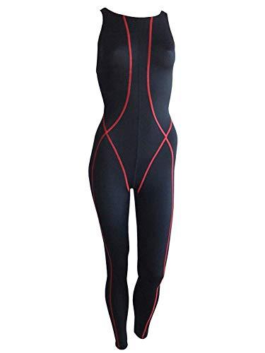 Solar Schwimmanzug Legsuit Overall mit Ringerrücken schwarz 881138-52 schwarz mit roten Streifen (28)