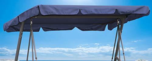 QUICK STAR Ersatzdach 200x145cm Gartenschaukel Universal Hollywoodschaukel 3 Sitzer Blau UV 50 Ersatz Bezug Sonnendach Schaukel Dach