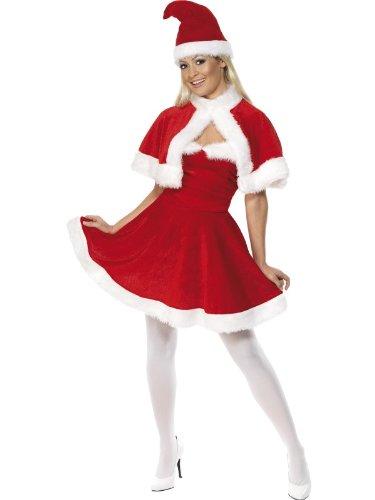 Smiffys, Damen Weihnachtsfrau Kostüm, Kleid, Cape und Mütze, Größe: L, 33317