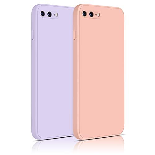 Yisica 2 Pack Silicona Funda Compatible con iPhone 7 Plus/iPhone 8 Plus, Funda de Silicona con [Forro de Microfibra Suave] Protección Completa, 4.7