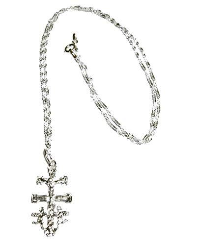 perlascarel Collar Colgante Cruz de Caravaca 30 mm y Cadena a 50 cm Modelo Singapur Todo Plata de Ley y Estuche Incluido