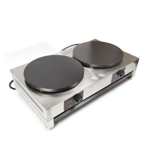 """Commercial Crepe Maker, 16"""" Stainless Steel Double Hotplate Electric Crepe Maker Machine 3KW+3KW Non-Stick Pancake Maker Temperature Adjustable 50-300℃ (122-572℉)"""