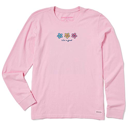 Life is Good Women's Crusher Graphic Long Sleeve T-Shirt, Three Daisies, Happy Pink, Large