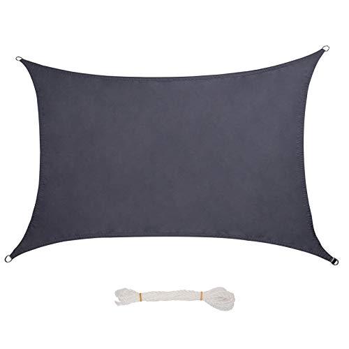 Lestarain Sonnensegel Sonnenschutz Segel Polyester UV Schutz wasserabweisend Wetterschutz für Garten, Balkon, Terrasse, Rechteck 5x7m Grau