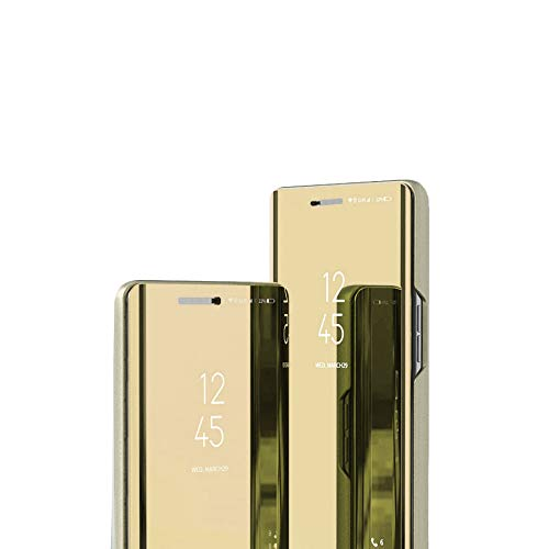 LAJIOJIO Compatible con Huawei P8Lite Funda Makeup Clear View Ventana Espejo Diseño Libro Estilo Stand Protección Completa Flip Folio Shell Cover para Huawei P8Lite Flip Espejo : Oro
