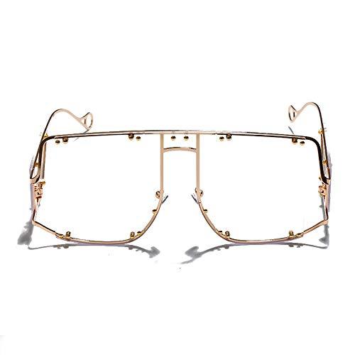Mujer Grande Gafas De Sol,Gafas De Mujer Transparentes Flat Top De Gran Tamaño, Vidrios Clásicos Polarizados De Moda Vintage Desfile / Fiesta Favores Para Deportes Al Aire Libre Y Actividades D