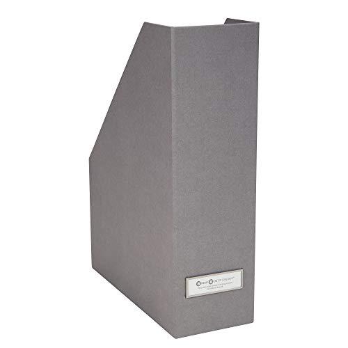 Bigso Box of Sweden Stehsammler mit Beschriftungsetikett – Zeitschriftensammler aus Faserplatte und Papier – Stehordner für Akten, Dokumente oder Zeitschriften – grau