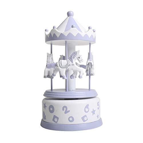 オルゴール クラシック回転オルゴール純木オルゴール手彫りホームクリエイティブ装飾品子供、女の子、友達ギフト 女性のためのオルゴール (Color : Purple)