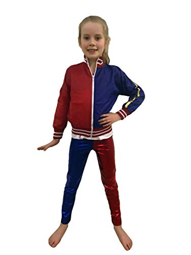 Ladies Red Blue Halloween Costume Set -Pick & Mix (Age 5-6 Years, Kids Bomber Red/Blue)
